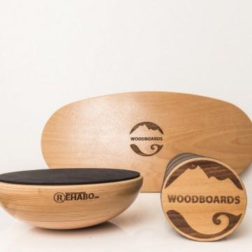 SET - Balančná doska WOODBOARDS ORIGINAL KOMPLET + REHAB 360 samostane