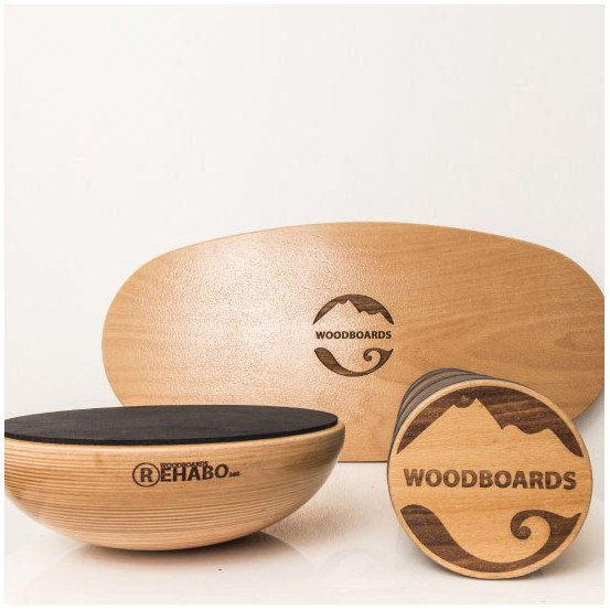 SET - Balančná doska WOODBOARDS ORIGINAL KOMPLET + REHABO 360 samostane