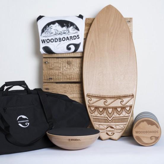 SURF MEGA SET s darčekom - WOODBOARDS SURF KOMPLET + REHABO 360 +prepravná taška + tričko zadarmo