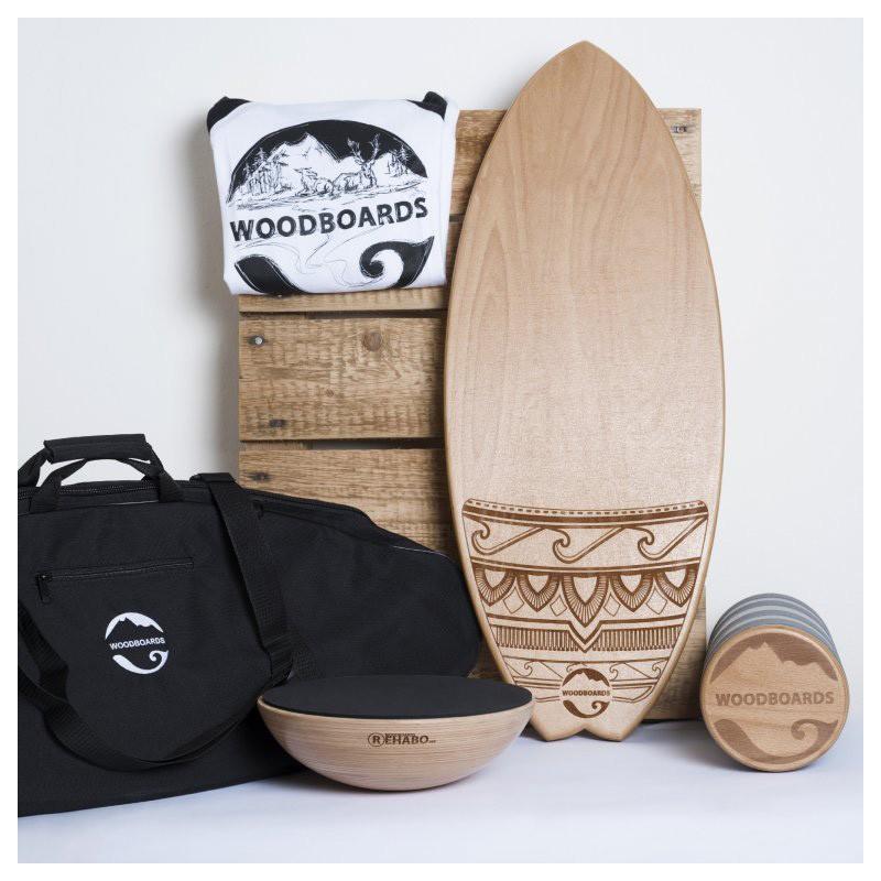 SURF MEGA SET s darčekom - WOODBOARDS SURF KOMPLET + REHAB 360 +prepravná taška + tričko zadarmo