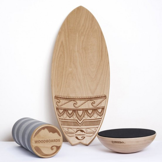 SET - Balančná doska WOODBOARDS SURF KOMPLET + REHABO 360 samostatne